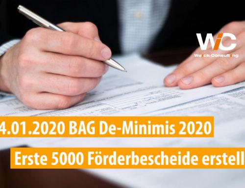 14.01.2020 BAG De-Minimis 2020: Erste 5000 Förderbescheide erstellt!