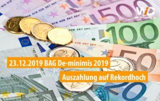 BAG De-minimis 2019 Auszahlung auf Rekordhoch